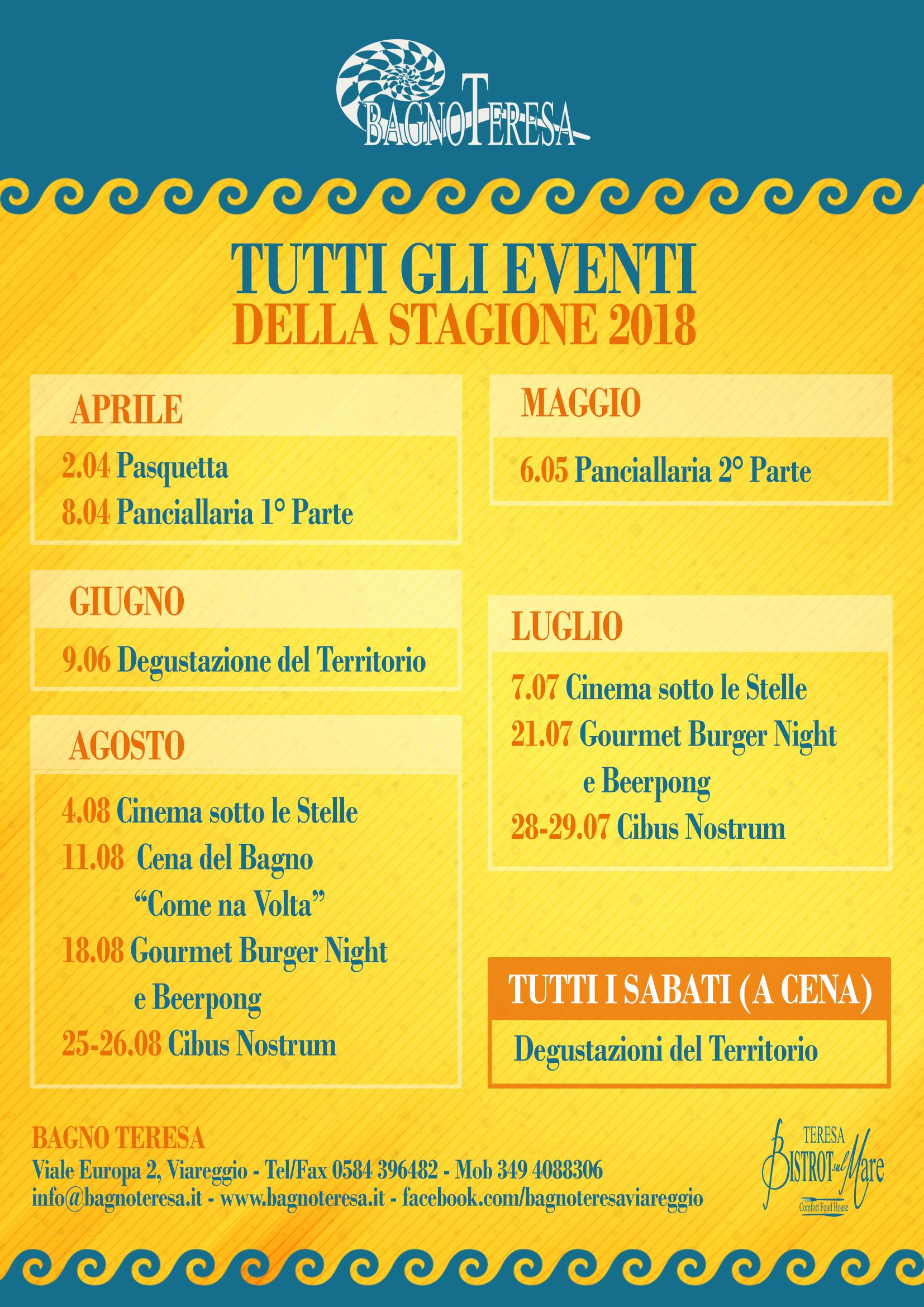Eventi estivi stagione 2018 bagno teresa viareggio - Bagno teresa viareggio ...